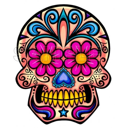 Day of the Dead Día de Muertos Skull T Shirt Iron on Transfer Decal #6 by www.shopironons.com