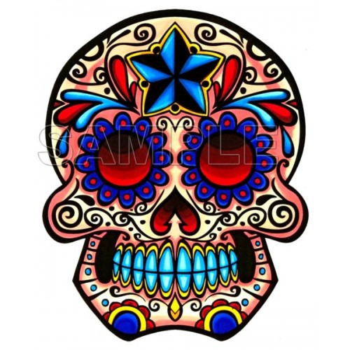 Day of the Dead Día de Muertos Skull T Shirt Iron on Transfer Decal #7 by www.shopironons.com