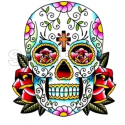 Day of the Dead Día de Muertos Skull T Shirt Iron on Transfer Decal #8