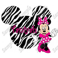Disney World Disneyland Vacation Minnie Mouse zebra Custom Personalized T Shirt Iron on Transfer Decal #60