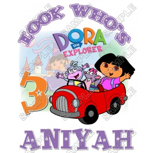 Dora Birthday Personalized Custom T Shirt Iron on Transfer Decal #15 by www.shopironons.com