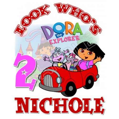 Dora Birthday Personalized Custom T Shirt Iron on Transfer Decal #24 by www.shopironons.com