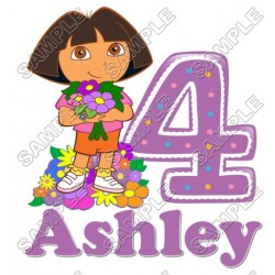 Dora Birthday Personalized Custom T Shirt Iron on Transfer Decal #27