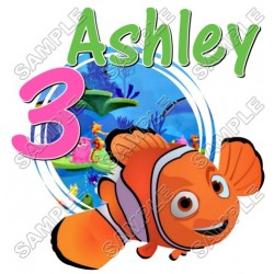 Finding Nemo Birthday Personalized Custom T Shirt Iron on Transfer Decal #11