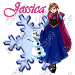 Frozen Anna Olaf Personalized Custom T Shirt Iron on Transfer Decal #24
