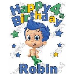 Happy Birthday Bubble Guppies Gil Personalized Custom T Shirt Iron on Transfer Decal #2