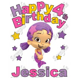 Happy Birthday Bubble Guppies Oona Personalized Custom T Shirt Iron on Transfer Decal #1