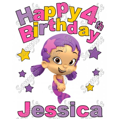 Happy Birthday Bubble Guppies Oona Personalized Custom T Shirt Iron on Transfer Decal #1 by www.shopironons.com