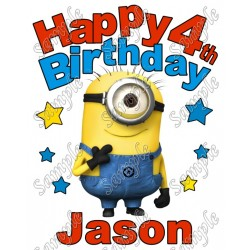 Happy Birthday Minion Despicable Me Personalized Custom T Shirt Iron on Transfer Decal #6