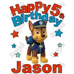Happy Birthday PAW Patrol Chase Personalized Custom T Shirt Iron on Transfer Decal #3