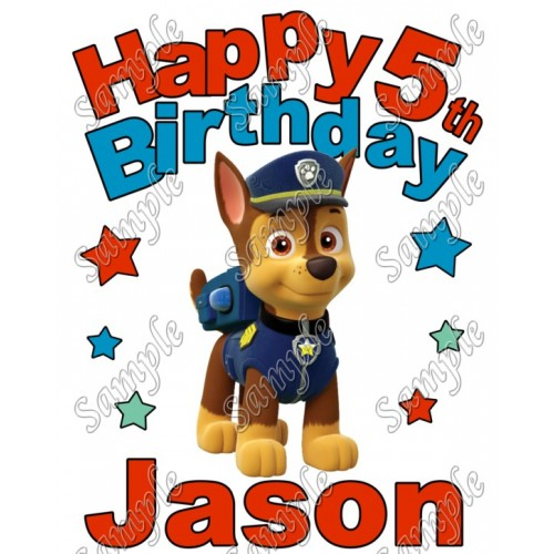 Happy Birthday PAW Patrol Chase Personalized Custom T Shirt Iron on Transfer Decal #3 by www.shopironons.com