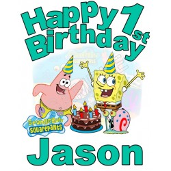 Happy Birthday SpongeBob SquarePants Personalized Custom T Shirt Iron on Transfer Decal #1