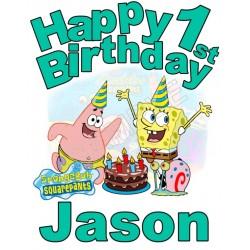 Happy Birthday SpongeBob SquarePants Personalized Custom T Shirt Iron on Transfer Decal #1