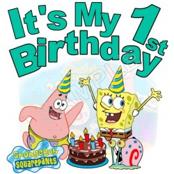 Happy Birthday SpongeBob SquarePants Personalized Custom T Shirt Iron on Transfer Decal #2