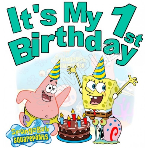 Happy Birthday SpongeBob SquarePants Personalized Custom T Shirt Iron on Transfer Decal #2 by www.shopironons.com