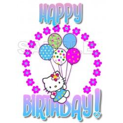 Hello Kitty Happy Birthday T Shirt Iron on Transfer Decal #33