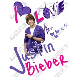 Justin Bieber T Shirt Iron on Transfer Decal #2