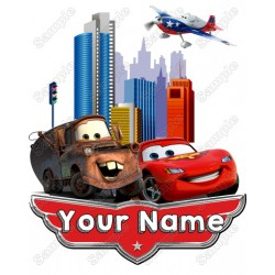 Pixar cars Mater and Mcqueen Birthday Personalized Custom T Shirt Iron on Transfer Decal #4