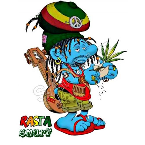 Marijuana Rasta Smurf T Shirt Iron on Transfer Decal #2 by www.shopironons.com