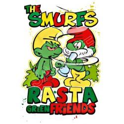 Marijuana Rasta Smurfs T Shirt Iron on Transfer Decal #3
