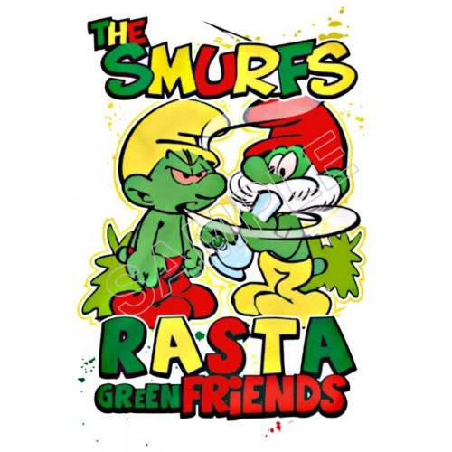 Marijuana Rasta Smurfs T Shirt Iron on Transfer Decal #3 by www.shopironons.com
