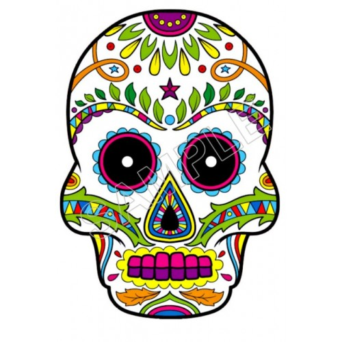 Mexican Sugar Skull T Shirt Iron on Transfer Decal #27 by www.shopironons.com