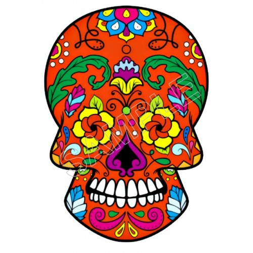 Mexican Sugar Skull T Shirt Iron on Transfer Decal #28 by www.shopironons.com
