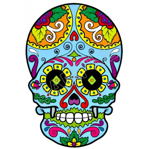 Mexican Sugar Skull T Shirt Iron on Transfer Decal #29 by www.shopironons.com