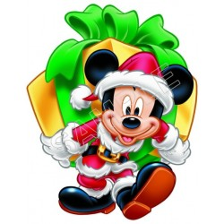 Mickey Mouse Santa Christmas T Shirt Iron on Transfer Decal #46