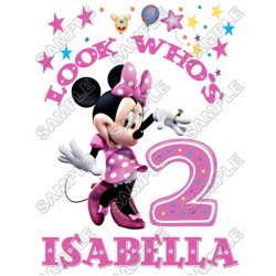 Minnie Mouse Birthday Personalized Custom T Shirt Iron on Transfer Decal #5