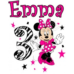 Minnie Mouse Zebra Birthday Personalized Custom T Shirt Iron on Transfer Decal #107