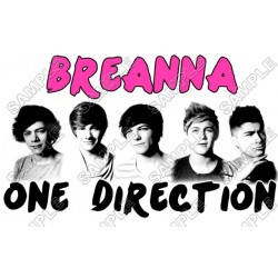 One Direction Personalized Custom T Shirt or Pillowcase Iron on Transfer Decal #1