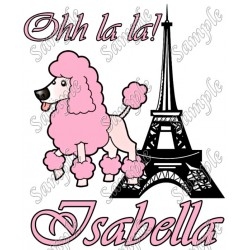 Pink Poodle in Paris Personalized Custom T Shirt Iron on Transfer Decal #1