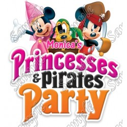 Princesses and Pirates Party Mickey Mouse Personalized Custom T Shirt Iron on Transfer Decal #38
