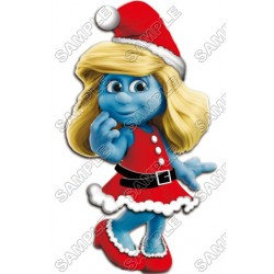 Smurfette Christmas T Shirt Iron on Transfer Decal #20