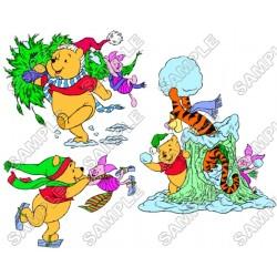 Winnie the Pooh Eeyore Tiger Christmas T Shirt Iron on Transfer Decal #11