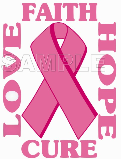Breast Cancer Awareness ~ Love Faith Hope Cure ~ T Shirt Iron on Transfer Decal #21
