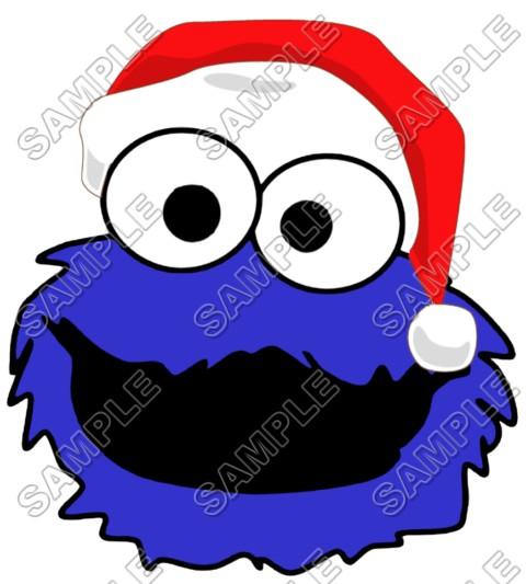 Cookie Monster Santa Christmas T Shirt Iron On Transfer