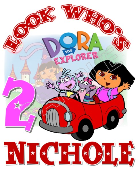 Dora Birthday Personalized Custom T Shirt Iron On Transfer