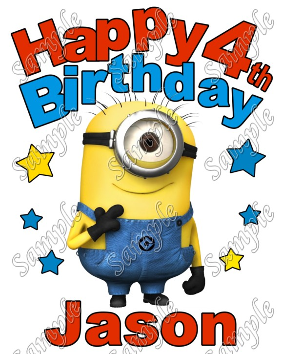 Happy Birthday Minion Despicable Me Personalized Custom T Shirt Iron On Transfer Decal 6