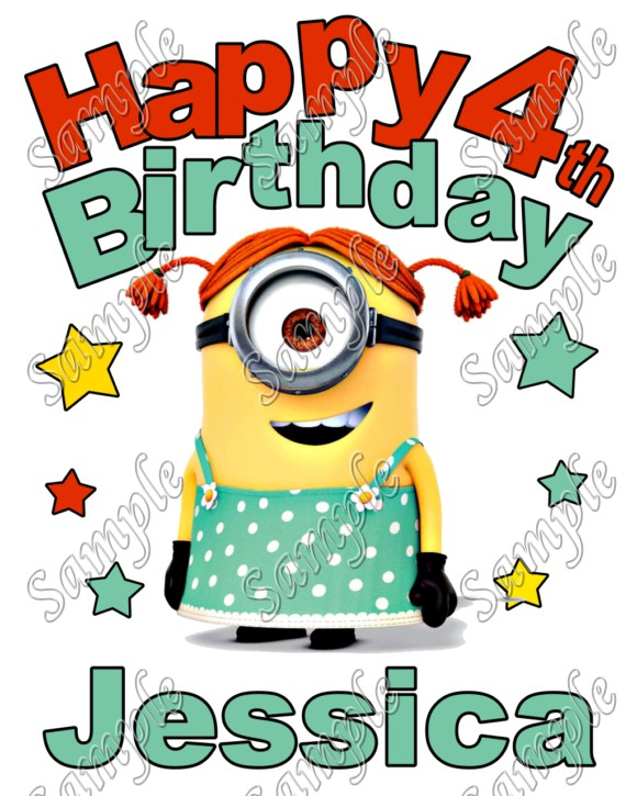Happy Birthday Minion Girl Despicable Me Personalized Custom T Shirt Iron On Transfer Decal 5