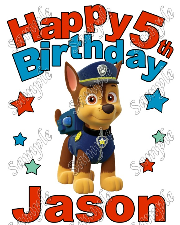Happy Birthday PAW Patrol Chase Personalized Custom T Shirt Iron On Transfer Decal 3